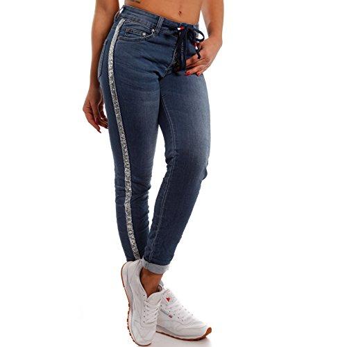 Damen Boyfriend Freizeithose Jeans Hose Jogger Style mit Seitenstreifen aus Pailletten Jeansblau