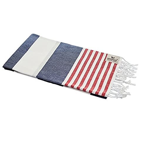 Beach Towel Peshtemal Turkish Bath Hammam Pestemal Towel Fouta Marine Tommy Blue White Stripes 90x 180cm Prewashed | Luxury Pure Cotton Turkish Towel | Soft and Gentle | Super Absorbent Quick Drying | Pestemal Hamam Towel badetuch| Carenesse