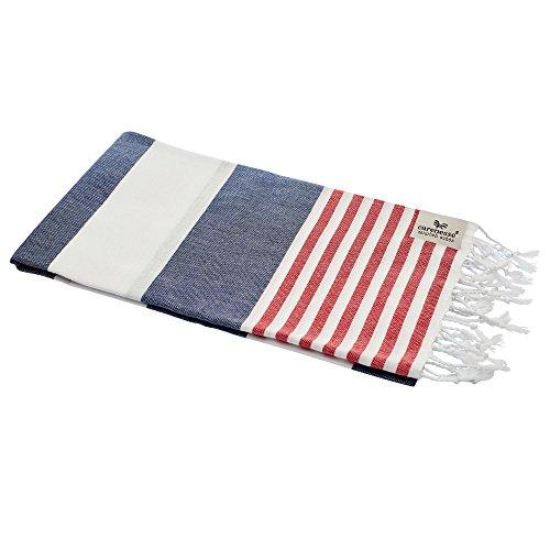 Carenesse Hamamtuch Tommy blau weiß rot gestreift, leicht und stylisch, Marine Look, 100{35c38fff9e7a4187bbeca616ad89533ce1250eed199624d727cd267feffddbb5} Baumwolle, 100 x 180 cm, Pestemal, Saunatuch, Badetuch, Strandtuch, Handtuch Backpacker, Turkish Towel, Fouta