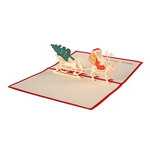 Toyvian 3D Christmas Themed pop up Karten Frohe Weihnachten Karte für weihnachtsferien handgemachte grußkarte Laser geschnitten mit Umschlag (rot)