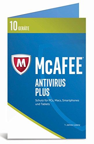 Produktbild McAfee AntiVirus Plus 2017 / 10 Geräte / 1 Jahr / PC / Mac / Smartphone / Tablet / Download