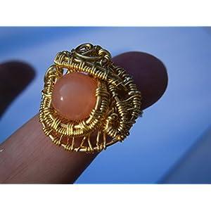 Ring pastell orange rosa handmade Unikat vergoldet wirework Quarz