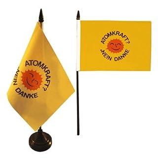 Tischflagge / Tischfahne Atomkraft Nein Danke + gratis Aufkleber, Flaggenfritze®