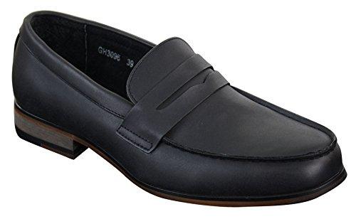 Mocassins homme Nubuck PU style vintage rétro classique noir marron bleu marine Noir