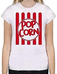 Karneval & Fasching - Popcorn Karneval Kostüm - Tailliertes Tshirt für Damen und Frauen T-Shirt