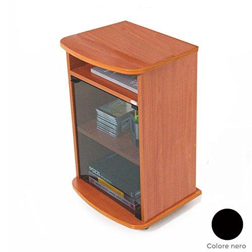 Carrello porta Tv mobile colore nero con vetrina Cm 47x40xH 73