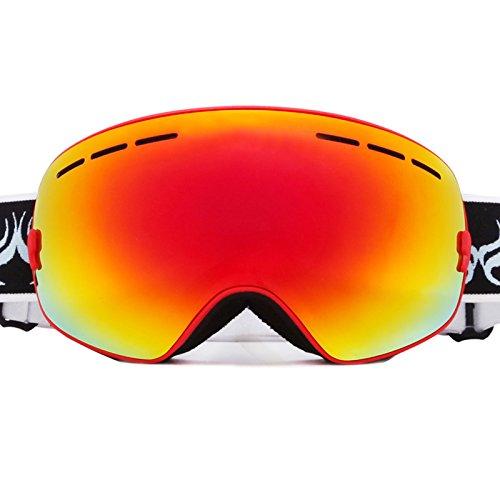 Meao Maschere da Sci con Staccabile Grandangolare Lenti Goggles Ampio Angolo di Visione Anti Fog UV 401 Protezione 3104