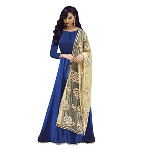 Rahi Fashion Silk Embroidered Semi-stitched Gown, Salwar and Dupatta Material( Color_ Blue_SF11034_Blue...