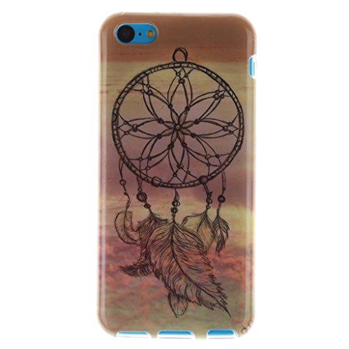 Pour iphone 5C Coque, MYTHOLLOGY - Rétro Fleur Doux Flexible, Premium Silicone TPU Arrière Housse Etui Dreamcatcher