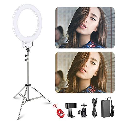 Neewer 18-Zoll weißes LED-Ringlicht mit silbernem Lampenständer Licht Set Dimmbar 50W 3200-5600K mit weicher Filter, Zubehörschuh Adapter, Handyhalter für Make-up Video -