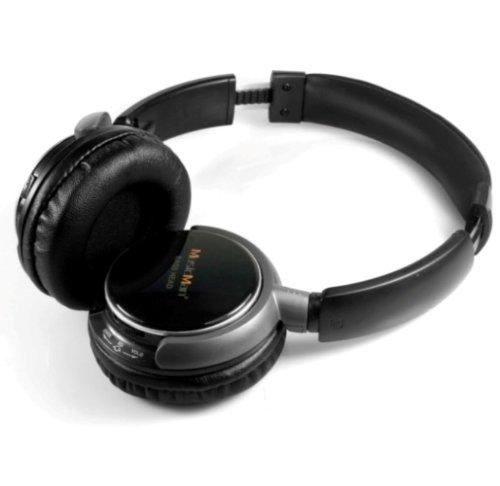 MusicMan TXX3786 BassHead Stereo-Kopfhörer (Akku, MP3-Player, FM Radio und MicroSD Kartenslot) schwarz (Stereo-kopfhörer Für Mp3-player)