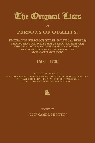 THE ORIGINAL LISTS OF PERSONS OF QUALITY; Emigrants; Religious Exiles; Political Rebels; Serving Men Sold For a Term of Years; Apprentices; Children ... to the American Plantations 1600-1700, Wit
