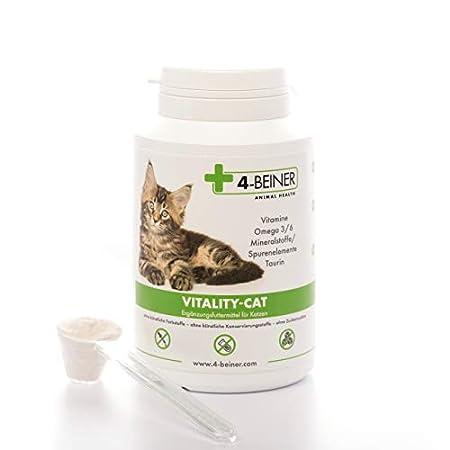 4-BEINER Vitality-Cat, 11 Vitamine für Katzen + Omega 3/6 + Zink, Selen, Mangan, Kupfer, Eisen, Taurin, Multivitamin…