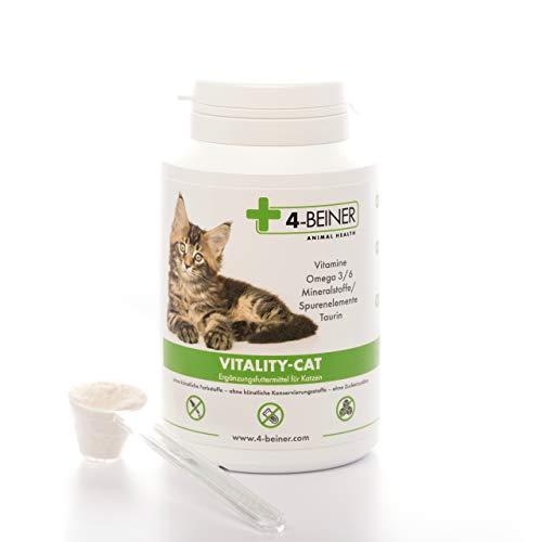 4-BEINER Vitality-Cat - 11 vitamine per Gatti + Omega 3/6, Zinco, Selenio, Manganese, Rame, Ferro, taurina, Multi-vitaminica Anche Come supplemento all'alimentazione Barf, 90 g di Polvere