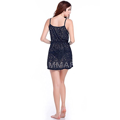 andyshi Frauen Sexy Spitze Transparent Cover-Up verstellbar Cami Beachwear Kleid Schwarz