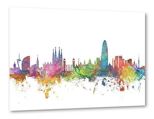 artboxONE Poster 30x20 cm Aquarell Städte 'Barcelona Spain' bunt hochwertiger Design Kunstdruck - Bild Aquarell Städte von Michael Tompsett