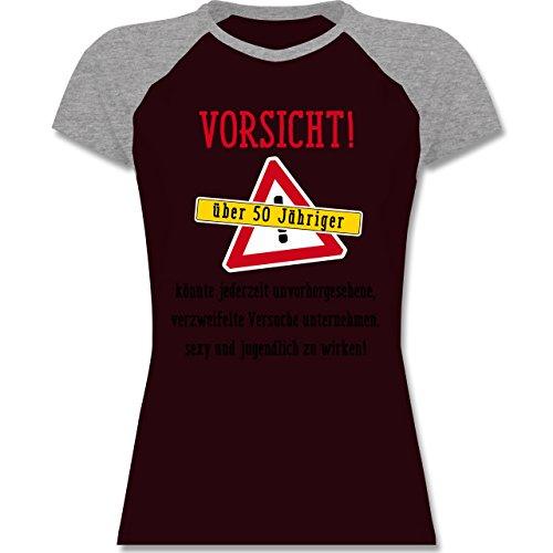 Geburtstag - Vorsicht 50-jähriger Fun Geschenk - zweifarbiges Baseballshirt / Raglan T-Shirt für Damen Burgundrot/Grau meliert