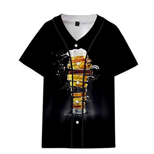 Herren Damen Baseball Bier Muster Gestreifte Print überdimensional Ausgebeult T-Shirt Top Baseball-T-Shirt Mesh Jersey personalisierte Baseball Shirt Deutsches Bierfest -