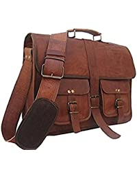 Vintage Handmade Genuine Brown Leather Laptop And Messenger Bag And Office Bag For Znt Bags - B0795SFFJC