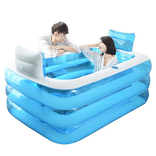 Falten Aufblasbare Badewanne Kunststoff Schwimmbecken Indoor & Outdoor Home SPA Fass Pool (Größe: 160 * 120 * 60 CM)