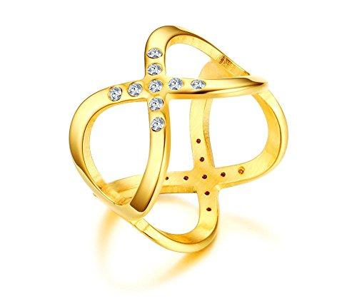 Vnox Acciaio inossidabile delle donne zirconi Criss Cross Infinity Amore Wedding Band anello in oro