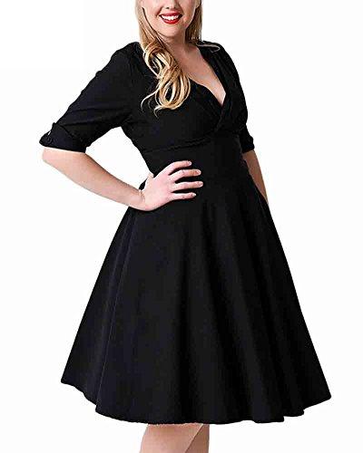 SaiDeng Femmes Pure Couleur Élégant Grande Taille V-cou Mince A-ligne Robe Noir