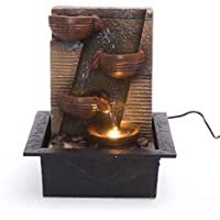 Zen Cascading Bowls Indoor Water Fountain with LED Light | Size 21 * 17.5 * 25 Cm | 3 Pin UK Plug Included |