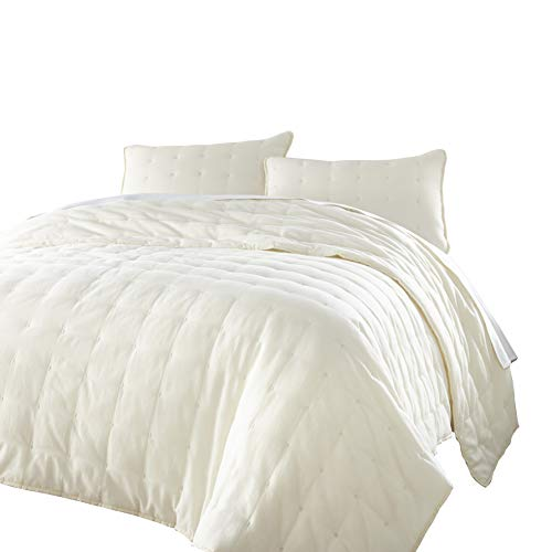 chezmoi Kollektion Riley 3 Stück getuftet Solides Wendbar 100% Baumwolle Soft-Finished Quilt Set Modern King Gebrochenes Weiß (Solide Tröster Set King)