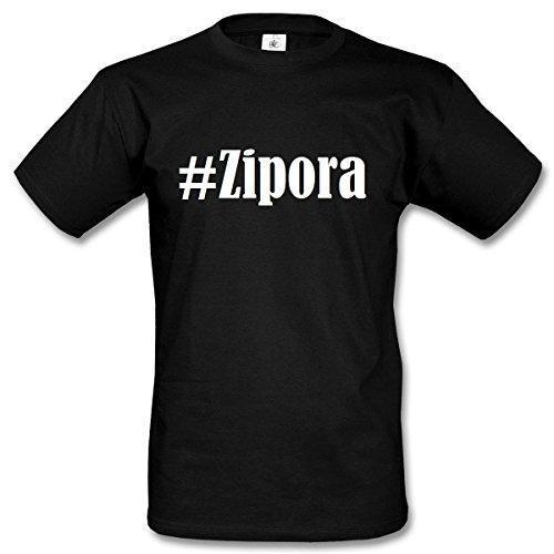 T-Shirt #Zipora Hashtag Raute für Damen Herren und Kinder ... in den Farben Schwarz und Weiss Schwarz