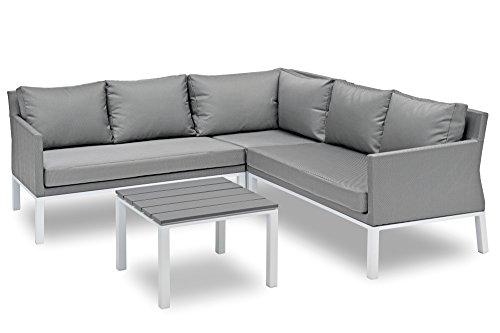 Belardo Loungeset Galiata, Gartenlounge in Weiß/Grau, Balkonlounge aus Aluminium Alu, Gartenmöbel Set mit Textilene-Bezug inkl. Polster-Auflagen