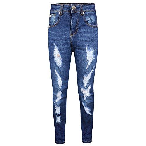 A2z 4 kids® bambini elasticizzati jeans ragazzi jeggings strappato - b.j skinny dark blue 11-12