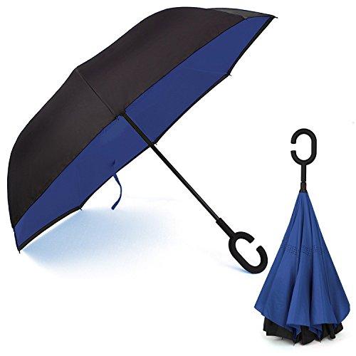 Ombrello Inverso Antivento, C Forma impugnatura dritta Rod doppio strato invertito Ombrello per auto all'aperto (blu Dary)(dary blue)