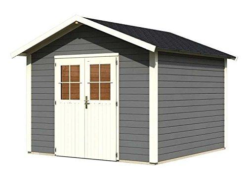 Karibu Gartenhaus Linau 8 terragrau 28 mm inkl. Schindeln schwarz Außenmaß (B x T): 304 x 304 cm...