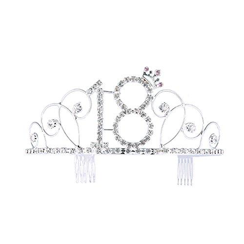 Scopri offerta per Frcolor - Corona 18° compleanno, diadema per compleanno, tiara con pettinini incorporati, colore: argento.