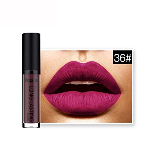 Rouges à lèvres,Covermason Imperméable à l'eau mate liquide rouge à lèvres longue durée Lip Gloss à lèvres (36#)