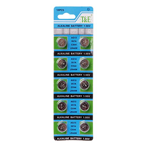 Batterien Knopfzellen Aisumi 10Pcs AG13 A76 LR44 357A S76E G13 Button Coin Shaped Cell Battery 1.55V Alkaline Button Batteries