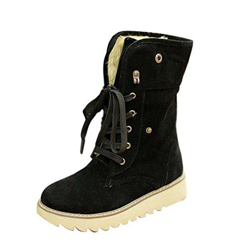 Minetom Damen Stiefeletten Matte Wildleder Stiefel Schnee Winter Fur Boots Winterstiefel Warm Casual Flats Bequeme Boots ( Schwarz EU 36) -