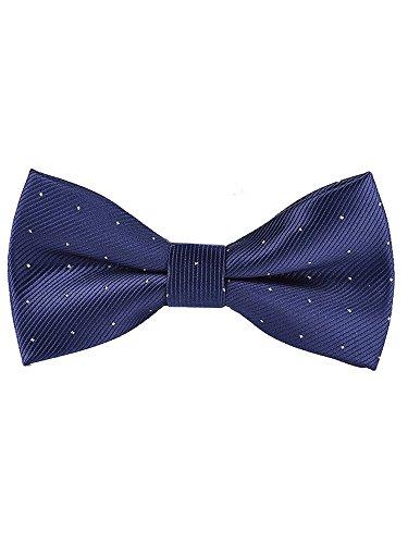 Hombre Pajarita Ajustable con Cierre de Gancho ya Anudado 12*6 cm Elegante Gentleman - Unicolor Silver Lunares Azul Oscuro