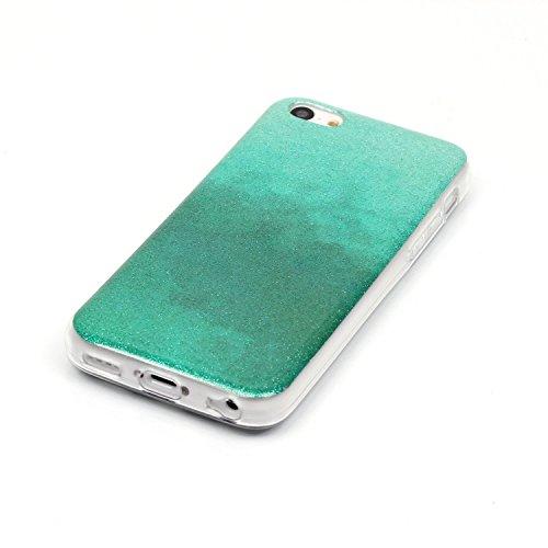 Cover iPhone 5C, Custodia iPhone 5C, ikasus® Colore gradiente Cristallo di lusso di Bling di scintillio lucido diamante scintilla iPhone 5C Case Custodia Cover Lucido scintillio caso di Bling diamante Menta verde