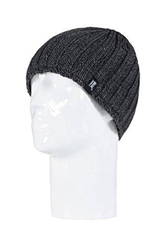 Heat Holders - termico del panno morbido degli uomini foderato a costine maglia cappello invernale 3.4 tog - Unica (Grigio)