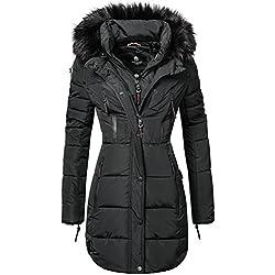 Marikoo Moonshine Abrigo Guateado Largo de Invierno para Mujer con Pelo Negro L