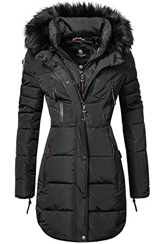 Marikoo Moonshine Abrigo Guateado Largo de Invierno para Mujer con Pelo Negro...