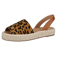Wells Collection Womens Espadrille Flat Slip On Open Toe Sandal with Slingback Strap, Leopard, 7.5