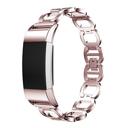 Preisvergleich Produktbild Sansee Edelstahl Armband Smart Watch Band Strap für Fitbit Charge 2 (Braun)