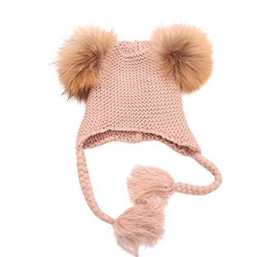 QinMM bebé niñas Sombrero Holgado de Lana de Invierno de Gorro de Punto  Beanie de Aviador dc21f1ad3254