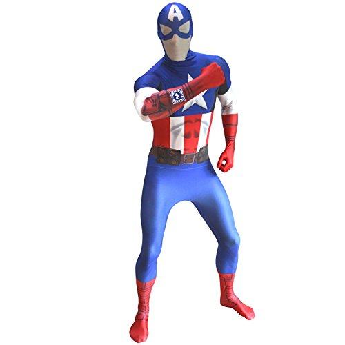 Captain America Große Kostüm - Offizieller Captain America Delux Digital Morphsuit, Verkleidung, Kostüm - Large - 5'5-5'9 (163cm-175cm)
