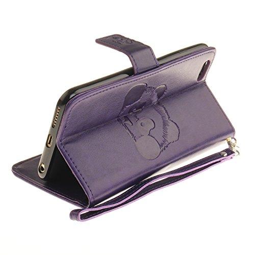 Custodia iPhone 6s Plus Case, SsHhUu Cover Portafoglio in Vera Pelle [Carta Fessura] [Magnetica Chiusura] con Penna Capacitiva e Lanyard per Apple iPhone 6 Plus / 6s Plus (5.5) Grigio Porpora