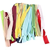 Hirday Premium 8 Inch Invisible (Concelled) Zipper With Knit Tape,Set Of Multicolored 30 Zips Used In Pants,Children Frocks,Plazos,Dresses, Ladies Suits Etc. Pack Of 30 Pcs
