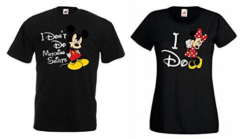 TRVPPY Pärchen Partner Herren + Damen T-Shirt Set Modell Mickey & Mini Mouse Matching Shirts, Herren L, Damen M, Schwarz