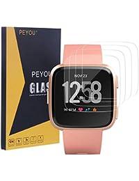 PEYOU 4 Pack Schutzfolie Kompatibel mit Fitbit Versa aus Panzerglas, [Extrem Dünne Dicke] [9H Härte] [Kristallklar] [Anti-Kartz][Premium-gehärtetes Glas] Komaptibel mit Fitbit Versa 2018